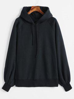 Raglan Sleeve Fleece Hoodie - Black S