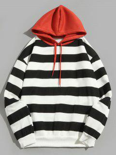 Contrast Striped Print Fleece Hoodie - Black M