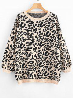 Blouson Sleeve Leopard Jacquard Sweater - Black