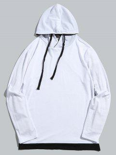 Classic Long Sleeves Drawstring Pulllover Hoodie - White S