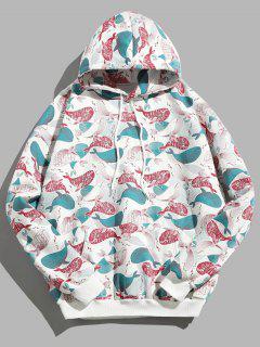 Cartoon Whale Print Fleece Hoodie - Multi-a L