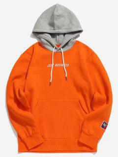 Letter Embroider Kangaroo Pocket Hoodie - Pumpkin Orange Xl