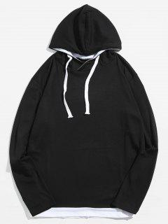 Classic Long Sleeves Drawstring Pulllover Hoodie - Black S