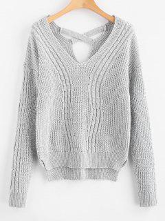 V Neck Cable Knit Cross Back Sweater - Light Gray
