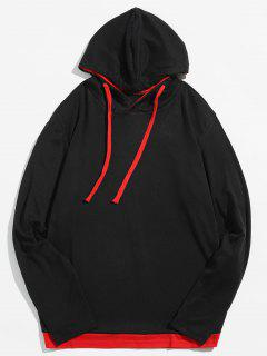 Classic Long Sleeves Drawstring Pulllover Hoodie - Red M
