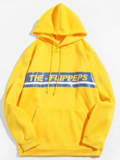 Brief Print Pullover Fleece Hoodie - Gelb 2xl