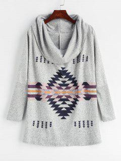 Cowl Neck Geometric Print Sweater - Light Gray Xl