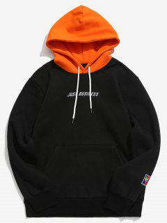 Letter Embroider Kangaroo Pocket Hoodie - Black 2xl