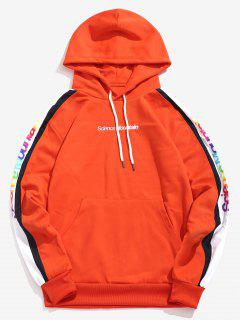 Pullover Colorful Letter Printed Hoodie - Orange Xl