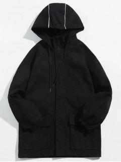 Flap Pocket Letter Embroidery Hooded Jacket - Black M