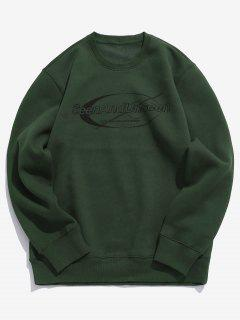 Pullover Letter Pattern Sweatshirt - Deep Green M