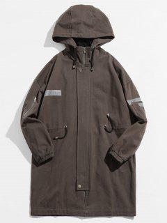 Manteau Trench Réfléchissant Taille Rayée à Cordon - Nuage Gris L