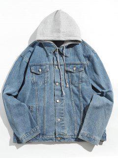 Button Fly Detachable Hooded Denim Jacket - Denim Blue M