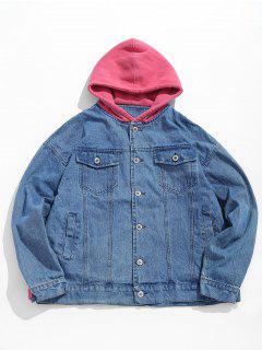 Hood Patchwork Denim Jacket - Blue Ivy Xl