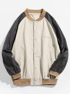 Colorblock Embroidered Letter Baseball Jacket - Light Khaki L