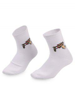 Chopsticks Printing Ankle Socks - White