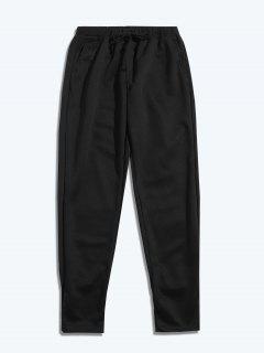 Pantalones Deportivos De Color Liso Con Cordón - Negro M