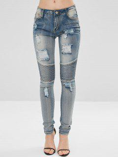 Distressed Ruched Skinny Jeans - Denim Blue M