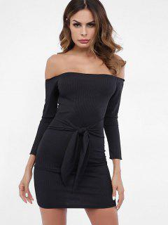 Off Shoulder Knotted Plain Knit Dress - Black M