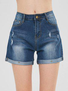 Distressed Cuffed Denim Shorts - Denim Dark Blue M