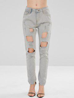 Fade Destroyed Jeans - Light Gray M
