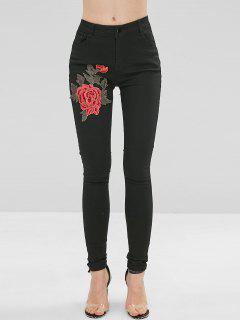 Floral Embroidered Patched Skinny Jeans - Black M