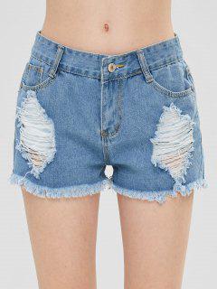 Destroyed Frayed Denim Shorts - Jeans Blue L