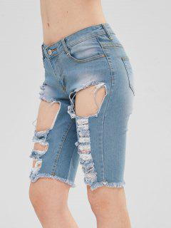 Pantalones Cortos De Mezclilla Destruidos Desgastados - Azul De Jeans  2xl