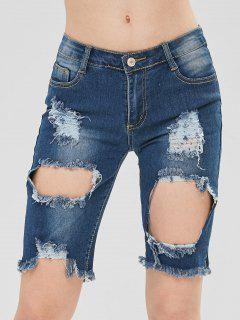 Destroyed Frayed Half Denim Shorts - Denim Dark Blue S