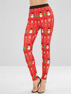 Snowman Elk Christmas Leggings - Multi S