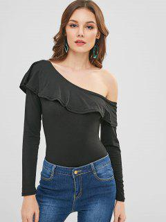 Ruffles One Shoulder Bodysuit - Black S