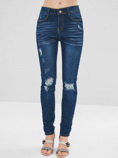 Ripped Dark Wash Skinny Jeans - Denim Dark Blue L