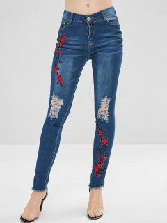 Embroidered Distressed Skinny Jeans - Denim Dark Blue L