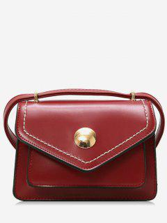 PU Leather Magnet Snap Design Crossbody Bag - Red Wine