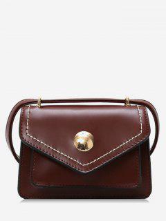 PU Leather Magnet Snap Design Crossbody Bag - Brown