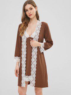 Ribbed Lace Panel Pajamas Set With Belt - Chestnut Xl