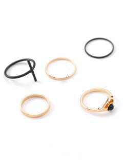 Alloy Minimalist Design Cross Rings Set - Black