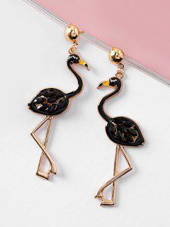 Rhinestone Flamingo Shape Drop Earrings - Black