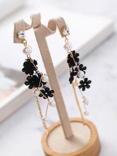 Faux Pearl Decor Lace Floral Drop Earrings - Black