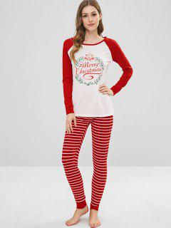 Graphic Christmas Stripes Pants Set - Lava Red S