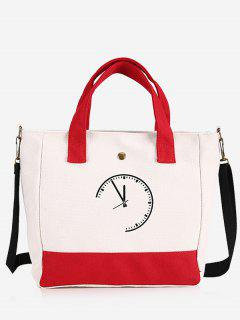 Clock Pattern Canvas Handbag - Red
