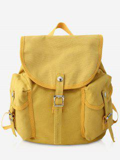 Canvas Design Large Capacity School Backpack - Yellow