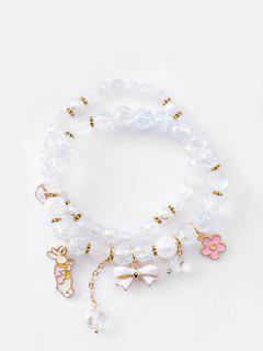 Double Layered Bowknot Rabbit Beads Bracelet - Light Blue