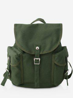 Canvas Design Large Capacity School Backpack - Dark Green