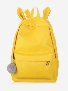 Plush Ball Canvas Design School Backpack - Yellow