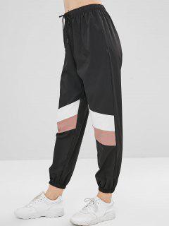 Pantalones De Jogger De Tres Tonos - Negro S