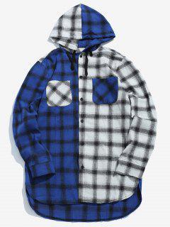 Colorblock Plaid Print Hooded Shirt - Ocean Blue Xl