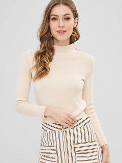 Slim Knitted High Neck Sweater - Apricot