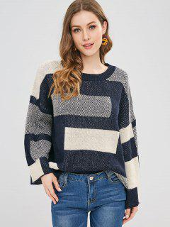 Color Block Drop Shoulder Loose Sweater - Multi