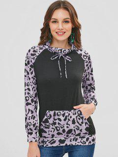Leopard Print Front Pocket Sweatshirt - Black L